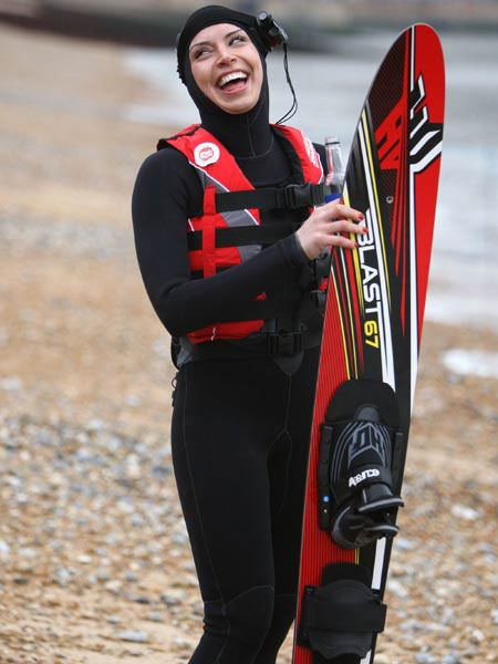 Congratulations to Christine Bleakley, who successfully water-skied across the English Channel in aid of Sports Relief. The presenter managed to accomplish it in under two hours. We bet reported footballer boyfriend Frank Lampard was beaming with pride...
