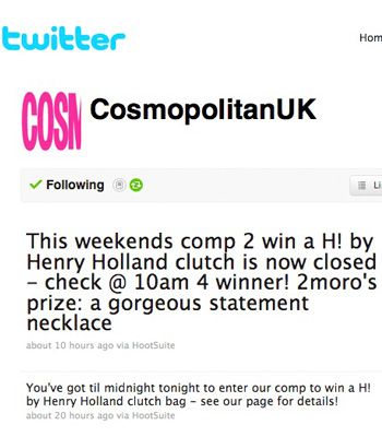 "As if your daily dose of Cosmo wasn't enough to keep you smiling all week, we've gone and given you something else. On our twitter page, <a href=""http://twitter.com/CosmopolitanUK"">www.twitter.com/CosmopolitanUK</a> we're hosting a daily giveaway. Last week lucky reader's winnings included a Shavata brow perfection kit, H by Henry Holland clutch and new Biotherm body creams. This week there are Nicky Clarke straighteners, Models Own nail polishes and Lytess slimming leggings all up for grabs. To enter retweet our prize tweet and keep an eye on our page to see what you could be winning."