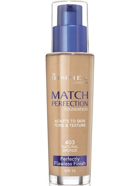 """<p>This foundation formula uses technology which mimics the skin's texture and adjusts to your natural skin tone whilst letting it breathe. A little goes a long way and it lasts for 16 hours! True perfection…</p>  <p>Rimmel Match Perfection, £8.99, currently £6.99 at <a target=""""_blank"""" href=""""http://www.boots.com/en/Rimmel-Match-Perfection-Foundation_1046411/"""">www.boots.com</a></p>"""