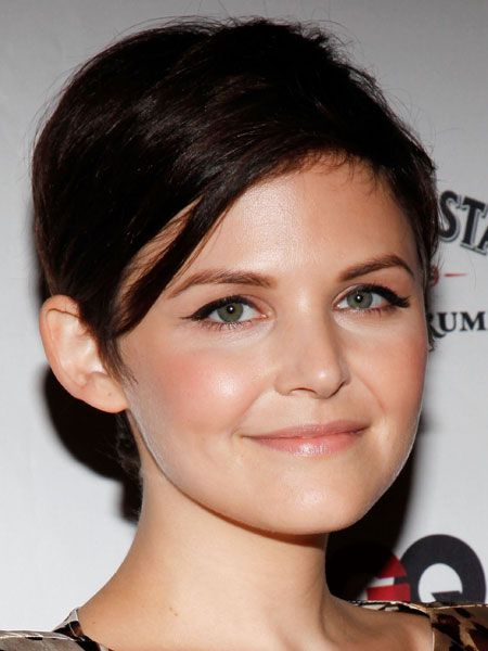 Round-shaped faces are lucky enough to have such feminine features that they can get away with a short pixie crop like Ginnifer Goodwin