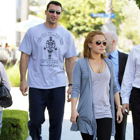 At first glance we almost mistook Hayden Panettiere's huge boyfriend for her minder but then we remembered that her hunky other half is professional boxer, Wladimir Klitschko. The pair enjoyed a romantic lunch at Le Pain Quotidien in LA...