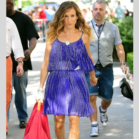 <h3>The <em>Sex & the City</em> movie sequel has had us squeeling over the girls' style more than ever. Sneak a peek at some of the wowzer wardrobe moments that have been released so far</h3><p>Left: Carrie's on frocking fabulous form strutting her style on the streets of Manhattan</p>