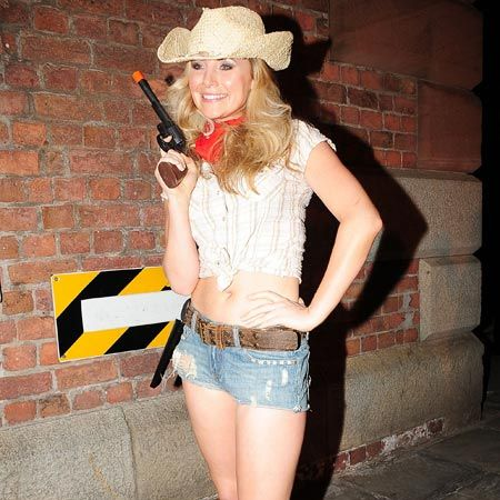 Other guests chose tiny hotpants to show off their enviable figure, demonstrated here by Whittle's ex-girlfriend, Carley Stenson...