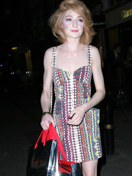 Nicola Roberts looked super skinny and weighed down with shopping bags as she left Italian footwear designer Gianmarco Lorenzi's cocktail reception to celebrate the launch of his new London flagship store and Spring/Summer 2010 collection. <br />