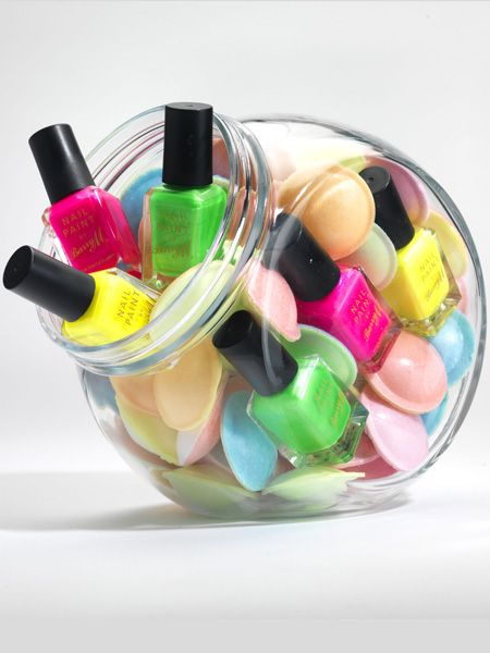 <p>Mask grubby nails with a hot neon hue. Make a real splash by painting different brights on alternate nails. Who needs accessories? </p>
