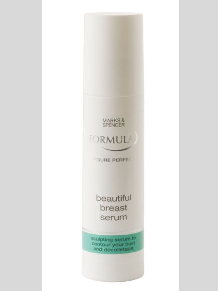 "<p>This serum is a great all-rounder with a matching price tag. It firms, smoothes and tightens at the same time</p>  <p>Marks & Spencer Body Formula Beautiful Breast Serum, £12, <a target=""_blank"" href=""http://www.marksandspencer.com/Body-Formula-Beautiful-Breast-Serum/dp/B001QKFU4E?ie=UTF8&ref=sr_11_1&pos=&mnSBrand=core&_encoding=UTF8"">www.marksandspencer.com</a></p>"