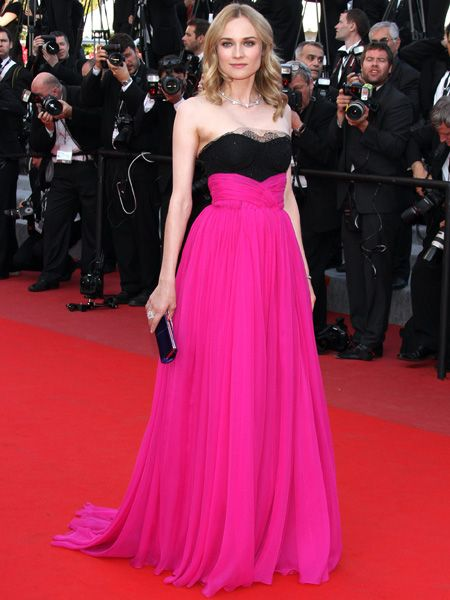 <p>Diane attended the closing ceremony wearing a black and fuchsia pink Jason Wu gown that clashed spectacularly with the red carpet </p>