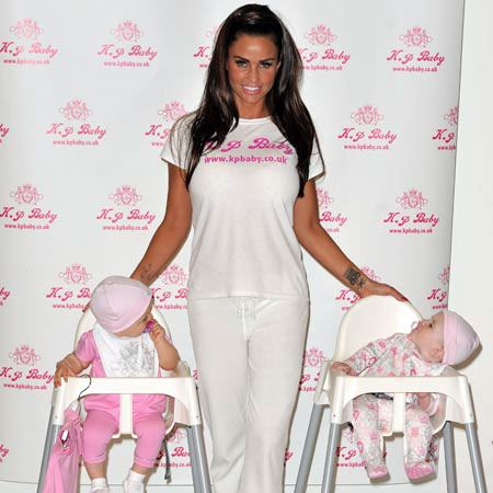 Is there any product in the world that Katie Price won't flog and put her name on? The glamour model launched her new baby wear range, KP Baby, with the help of two borrowed babies at a studio in London...  <br />