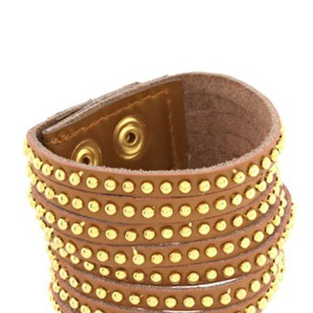"""<p>You can never have enough arm candy and this studded Asos bangle is a bargain</p><p>£10, <a href=""""http://www.asos.com/Asos/Asos-Genuine-Leather-Thick-Studded-Cuff-With-Popper-Fastening/Prod/pgeproduct.aspx?iid=1019001&cid=4175&sh=0&pge=0&pgesize=200&sort=-1&clr=Brown"""">www.asos.com</a><br /></p>"""