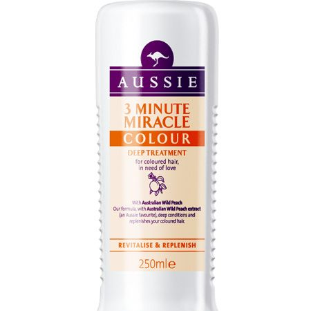 <p>When your hair's as frazzled as you are treat it to some deep conditioning. 3 Minute Miracle from Aussie is one of the quickest and best and now there's a version specifically for coloured hair so your hue won't fade in the sun</p>