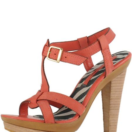 <p>Coral is a hot hue for summer and we love these colourful sandals with wooden heels </p>