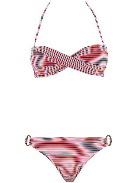 "<p>This twist front bandeau bikini looks way more pricy than it is. Plus the nod to the nautical trend means its recyclable year on year! </p>  <p>£12, <a target=""_blank"" href=""http://www.peacocks.co.uk/product/index.jsp?productId=4005921&prodFindSrc=paramNav"">www.peacocks.co.uk</a> </p>"