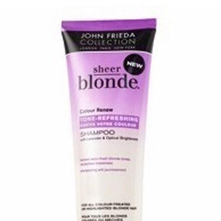 """<p>A recent discovery and one that is set to become a firm favourite thanks to its ability to add vibrancy and life to dull locks. Marketed at blondes but usable by all - even brunettes like me.</p><p>£5.49 <a target=""""_blank"""" href=""""http://www.superdrug.com/John-Frieda/John-Frieda-Sheer-Blonde-Colour-Renew-Shampoo-250ML/invt/487751"""">www.superdrug.com</a></p>"""