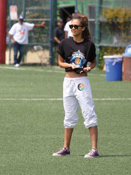 Jessica Alba did her bit for charity behind a pair of wayfarers as she played kickball for a fundraising event in Santa Monica, LA...  <br />