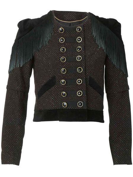 <p>Continuing the military theme is this statement fringe jacket which will command attention wherever you go</p>  <p>£25, Primark Limited Edition</p>