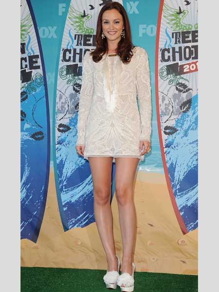 <p>Gossip Girl Leighton Meester combines the lace and white trends perfectly at the 2010 Teen Choice Awards </p>