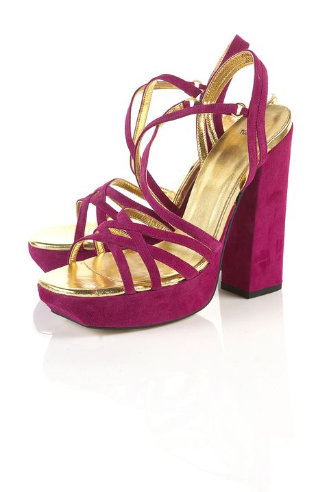"""<p>Block heels are the shoe shape du jour and these suede magenta puppies are the pair to wear with denim, dresses and well... everything!</p>  <p>£70,<a href=""""http://www.topshop.com/webapp/wcs/stores/servlet/ProductDisplay?beginIndex=0&viewAllFlag=&catalogId=33057&storeId=12556&productId=1876873&langId=-1&categoryId=&parent_category_rn=""""> topshop.com </a></p>"""