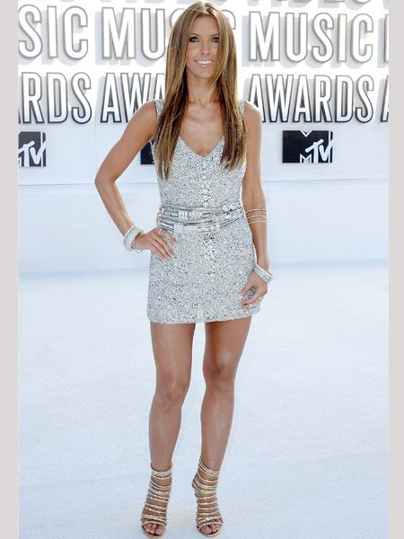 The Hills star Audrina Patridge was all a glimmer at the MTV Video Awards in this thigh-skimming Swarovski crystal encrusted number with strappy heels.