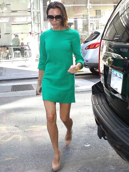 Victoria Beckham looked elegant in an emerald green dress by upcoming British label Goat as she popped out in New York in preparation for Fashion Week...  <br />