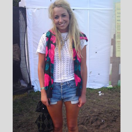 <p>Who: Holly, Bristol </p> <p>What festival: Bestival</p><p>Wearing: Charity shop top, D&G denim shorts, a Topshop bag and Carvella boots</p>