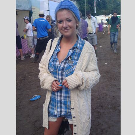 <p>Who: Becky, Bristol</p><p>What festival: Bestival</p><p>Wearing: Topshop cardi and Topshop hair band, Superdry shirt, denim shorts and willies</p>