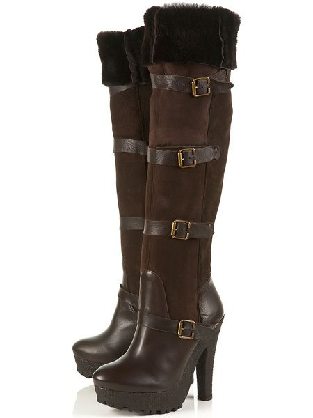 """<p>It's official; shopping is better than chocolate! These yummy coloured boots tick all the trends with buckles, faux-fur lined over-the-knee height and killer heels to match</p>  <p>£135, <a target=""""_blank"""" href=""""http://www.topshop.com/webapp/wcs/stores/servlet/ProductDisplay?beginIndex=0&viewAllFlag=true&catalogId=33057&storeId=12556&categoryId=208505&parent_category_rn=208491&productId=1915776&langId=-1"""">topshop.com</a></p>"""