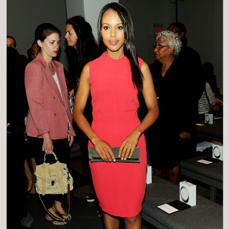Actress Kerry also attended Calvin Klein looking simply stunning in a chic raspberry shift dress with simple black accessories. Does she deserve top marks for her Fashion Week wardrobe?  <br />