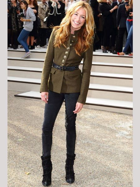 <p>A similarly glossy Cat Deeley also attended the Burberry show oozing effortless elegance in one of the label's AW military jackets with skinny jeans and ankle boots</p>