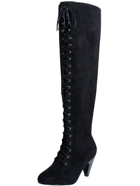 """<p>Lengthen those legs with longitudinal lace-ups this winter!</p>  <p>£49.50, <a target=""""_blank"""" href=""""http://www.evans.co.uk/webapp/wcs/stores/servlet/ProductDisplay?beginIndex=0&viewAllFlag=&catalogId=33054&storeId=12553&productId=1989052&langId=-1&categoryId=&parent_category_rn=&cmpid=COS21L29HBLK0910"""">Click here</a>  to buy at evans.co.uk</p>   <p>  <p>Don't forget to get your 20% discount to spend at evans.co.uk by going back to our <a href=""""http://www.cosmopolitan.co.uk/fashion-&-style/evans-landing-page/special"""">evans page</a>.</p>"""