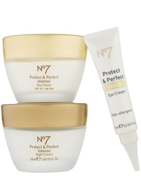 <p>No7's Protect & Perfect range is unstoppable. Amongst the anti-ageing wonder products there's the new Intense Eye Cream and Intense Body Serum, both seriously hard working yet affordable, and now the first ever 5-star SPF15 rated day moisturiser. It harnesses the famous anti-ageing properties the Protect & Perfect serum provides but with unbeatable UVA protection to repair and prevent at the same time. It promises results in just four weeks. Amaze. </p>  <p>No7 Protect & Perfect Intense Day Cream with 5-star UVA, £20.50, Boots</p>