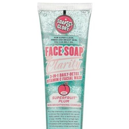 """<p>If you prefer a face wash to a cream cleanser look no further than this one. Packed with vitamin C it gives the skin a daily detox (perfect for hiding hangovers) whilst cleaning deep down and brightening</p><p>Soap & Glory Face, Soap & Clarity 3 in 1 Daily Detox Vitamin C Facial Wash, £6, <a target=""""_blank"""" href=""""http://www.boots.com/en/Soap-Glory-Face-Soap-and-Clarity-Foaming-Face-Wash-150ml_1102626/?cm_mmc_o=-uubkbzfwlCjCKww5kbELCjCvi%20i9%20niioCjCC"""">boots.com</a></p>"""