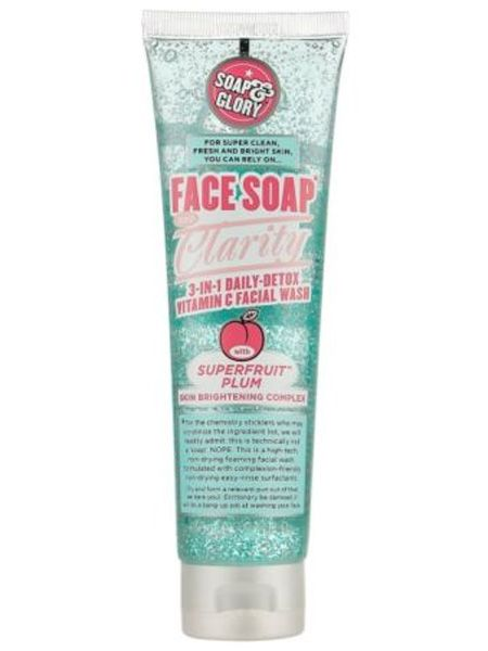 "<p>If you prefer a face wash to a cream cleanser look no further than this one. Packed with vitamin C it gives the skin a daily detox (perfect for hiding hangovers) whilst cleaning deep down and brightening</p>  <p>Soap & Glory Face, Soap & Clarity 3 in 1 Daily Detox Vitamin C Facial Wash, £6, <a target=""_blank"" href=""http://www.boots.com/en/Soap-Glory-Face-Soap-and-Clarity-Foaming-Face-Wash-150ml_1102626/?cm_mmc_o=-uubkbzfwlCjCKww5kbELCjCvi%20i9%20niioCjCC"">boots.com</a></p>"