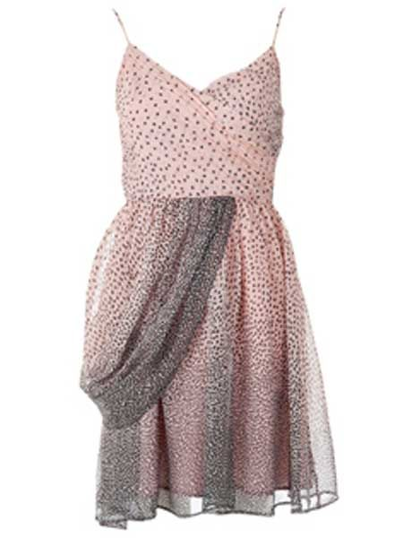 """<p>This pink dotty frock with a pleated cross over front is pretty as a picture</p>    <p>£50, <a target=""""_blank"""" href=""""https://www.joythestore.com/Louche-Halla-Drape-Dress.html"""">joythestore.com</a></p>"""
