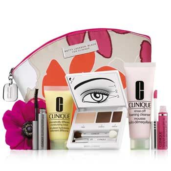 <p>The makeup maestros at Clinique know exactly how to treat us girls! For the second year running the beauty brand has collaborated with British designer Betty Jackson to create a perfectly autumnal makeup bag that's yours free when you buy two Clinique products (one to be skincare) at Debenhams. But not just that, you'll also receive a weighty collection of mini cosmetics including cleanser, moisturiser, mascara and lip gloss.</p><p>Offer runs 14-30 October</p>