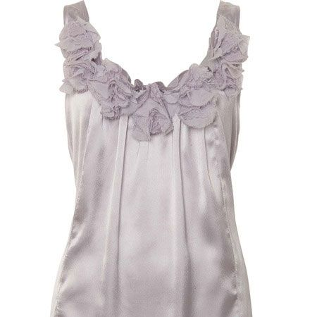 <p>Sheer tones are packing a  punch on high street right now, the colour and the neck frill detail on      this vest is a sure fire winner</p>