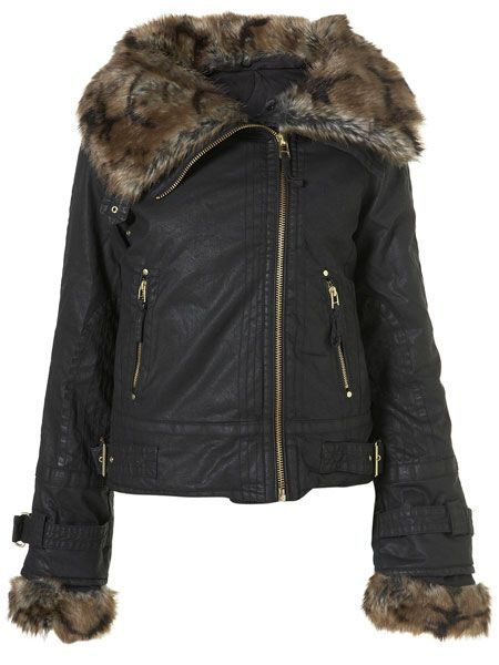 """<p>Away with the shearling and in with the fur, this is Topshop's take on the Aviator trend</p>  <p>£85,<a target=""""_blank"""" href=""""http://www.topshop.com/webapp/wcs/stores/servlet/ProductDisplay?beginIndex=0&viewAllFlag=&catalogId=33057&storeId=12556&productId=1859781&langId=-1&categoryId=&searchTerm=aviator%20jacket&pageSize=20""""> topshop.com</a></p>"""