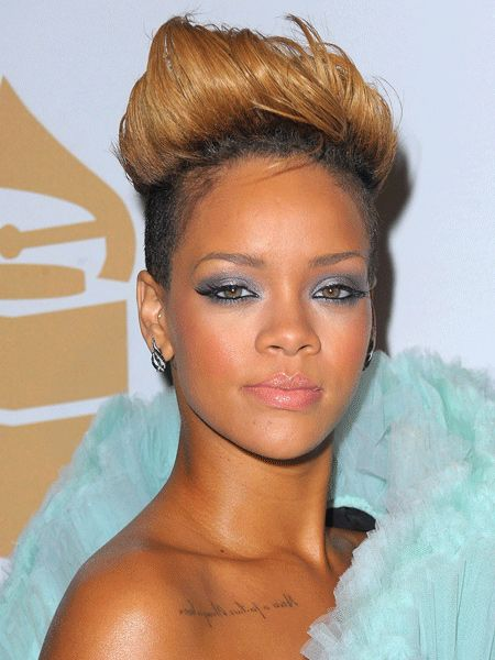 """<p>Ever the hair innovator, Rihanna's pioneered punky 'dos this year. One of our fave looks of hers is this gravity-defying quiff. Try styling yours with Tigi Rockaholic Way Out Super Hair Glue (£6.99, <a target=""""_blank"""" href=""""http://www.amazon.co.uk/Tigi-Rockaholic-Way-Out-Super/dp/B002I1VKSU"""">amazon.co.uk</a>) when its dry to get hardcore hold </p>"""