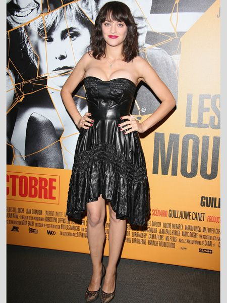 <p>The gorgeous French actress attended the 'Les Petits Mouchoirs' premiere in Paris wearing a cleavage enhancing leather dress with lacy court shoes. We see where she was going with the rock & roll look, but does it unfortunately look more trampy than vampy? </p>