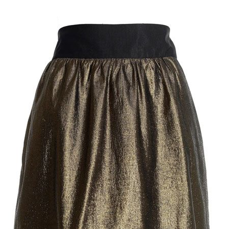 """<p>Add a touch of luxe to your wardrobe with this gold skater skirt</p><p> </p><p>£110,<a target=""""_blank"""" href=""""http://www.reissonline.com/shop/womens/casual_skirts/jewel/gold/""""> reissonline.com </a><br /></p>"""