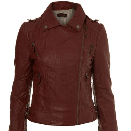 """<p>This beautiful berry biker is the perfect twist on an old classic&#x3B; absolutely the perfect shade for draping around you this Autumn</p><p> </p><p>Biker, £47, <a href=""""http://www.missselfridge.com/webapp/wcs/stores/servlet/ProductDisplay?beginIndex=0&viewAllFlag=&catalogId=33055&storeId=12554&productId=1992116&langId=-1&sort_field=Relevance&categoryId=208077&parent_categoryId=208035&sort_field=Relevance&pageSize=40"""" target=""""_blank"""">www.missselfridge.com</a></p>"""