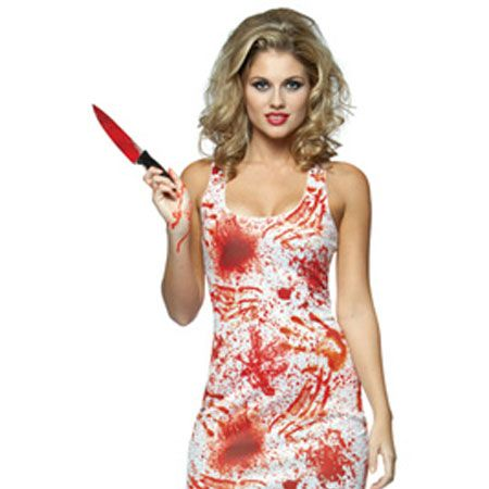 """<p>You can really have fun with this one, get some fake blood and smear it over your hands for the real 'caught in the act' look</p><p> </p><p> £21.99, <a target=""""_blank"""" href=""""http://www.escapade.co.uk/Halloween-Costumes-sale/Bloody-Tank-Dress-costume.asp"""">escapade.co.uk</a><br /></p>"""