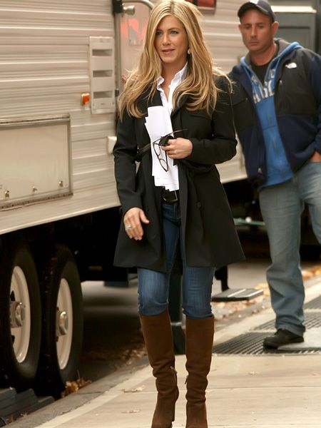 Won't Jennifer Aniston ever take a break? Here's the hardworking actress leaving her trailer on the set of the new film Wanderlust, which is currently shooting in Manhattan. Apparently she's set to flash her breasts in the flick - hopefully in warmer surroundings than the nippy New York location!  <br />