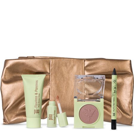"""<p>This golden pouch contains Pixi's party essentials&#x3B; a mini Flawless & Poreless, mini Eye Bright Primer, full-sized Fairy Light Solo eye shadow and mini Endless Silky Eye Pen and can be reused as a glam purse or a luxe makeup bag</p><p>Pixi Essentials, £18.50, <a target=""""_blank"""" href=""""http://www.pixibeauty.co.uk/Pixibeauty_Products/beauty_kits/Pixi_Essentials/Index.html"""">pixibeauty.co.uk</a></p>"""