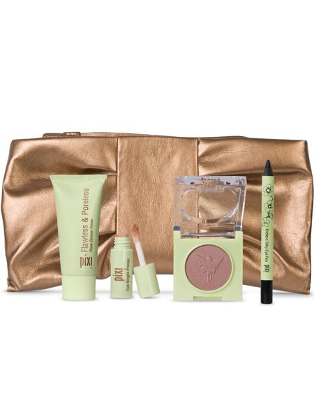 "<p>This golden pouch contains Pixi's party essentials; a mini Flawless & Poreless, mini Eye Bright Primer, full-sized Fairy Light Solo eye shadow and mini Endless Silky Eye Pen and can be reused as a glam purse or a luxe makeup bag</p>  <p>Pixi Essentials, £18.50, <a target=""_blank"" href=""http://www.pixibeauty.co.uk/Pixibeauty_Products/beauty_kits/Pixi_Essentials/Index.html"">pixibeauty.co.uk</a></p>"