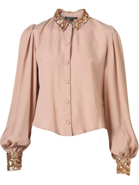 "Combat the cold blush on your cheeks that the winter brings with this beige sequin shirt. Perfect for bringing some Christmas spirit into the office <p> </p><p>£45, <a href=""http://www.topshop.com/webapp/wcs/stores/servlet/ProductDisplay?beginIndex=0&viewAllFlag=&catalogId=33057&storeId=12556&productId=2112701&langId=-1&sort_field=Relevance&categoryId=208491&parent_categoryId=&sort_field=Relevance&pageSize=200"" target=""_blank"">topshop.com</a></p>"