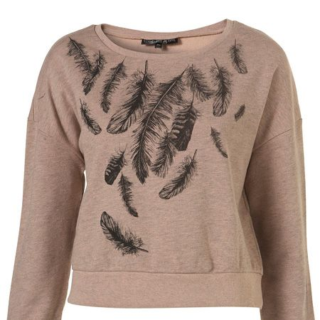 """If you're still feeling the chill of the wind and snow then cover up in this feather sweat top. Perfect for lounging around after a long day in the office <p> </p><p>£25, <a href=""""http://www.topshop.com/webapp/wcs/stores/servlet/ProductDisplay?beginIndex=0&viewAllFlag=&catalogId=33057&storeId=12556&productId=2130178&langId=-1&sort_field=Relevance&categoryId=208491&parent_categoryId=&sort_field=Relevance&pageSize=200"""" target=""""_blank"""">topshop.com</a></p>"""