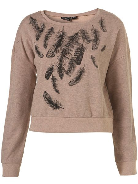 "If you're still feeling the chill of the wind and snow then cover up in this feather sweat top. Perfect for lounging around after a long day in the office <p> </p><p>£25, <a href=""http://www.topshop.com/webapp/wcs/stores/servlet/ProductDisplay?beginIndex=0&viewAllFlag=&catalogId=33057&storeId=12556&productId=2130178&langId=-1&sort_field=Relevance&categoryId=208491&parent_categoryId=&sort_field=Relevance&pageSize=200"" target=""_blank"">topshop.com</a></p>"
