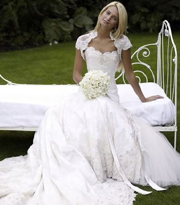 """<p><strong>Designer: Philipa Lepley</strong></p>  <p>Another hot favourite to design the royal dress. Kate would look like the perfect English rose in this lacy number, and the bolero would keep out the spring-time chill</p>  <p>See more at <a target=""""_blank"""" href=""""http://www.phillipalepley.com"""">phillipalepley.com</a></p>"""