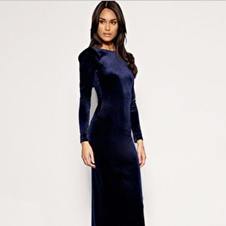 "Velvet is THE fabric of the moment and this floor-length midnight blue dress hits all the right notes.The scooped back neck ups the sex appeal and the colour is simply divine!<br /><br />now £26.50, was £26.50, <a href=""http://www.asos.com/Asos/Asos-Velvet-Maxi-Tube-Dress/Prod/pgeproduct.aspx?iid=1258990&cid=4877&sh=0&pge=5&pgesize=20&sort=-1&clr=Navy"">asos.com</a><br />"