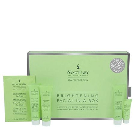 """<p>A brilliant brightening facial kit from famous women-only spa The Sanctuary, this contains everything from a hot cloth cleanser and moisture boosting mask to an illuminating moisture lotion which will leave your skin looking radiant and refreshed. Complete with a step-by-step diagram and top tips and techniques, who needs a therapist!? </p><p>£16, <a title=""""The Sanctuary at home brightening facial"""" target=""""_blank"""" href=""""http://www.thesanctuary.co.uk/brightening-facial-in-a-box-details.htm"""">the sanctuary.co.uk</a></p>"""